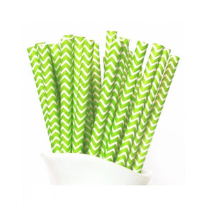 Dollyrockets Lime Green Chevron Paper Straws - 50pk