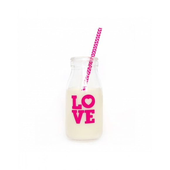 Dollyrockets Pink Love Glass Bottle