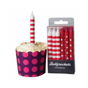 Dollyrockets Pink & White Candles - 12pk