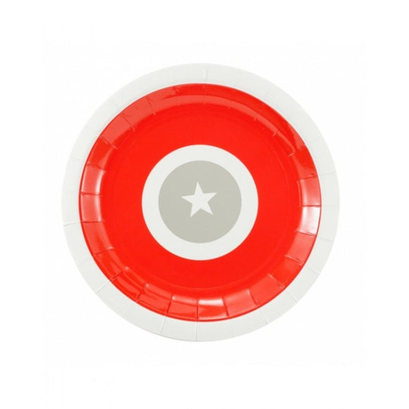 Dollyrockets Red Grey Star Paper Plates- 12pk