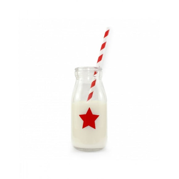 Dollyrockets Red Star Glass Bottle