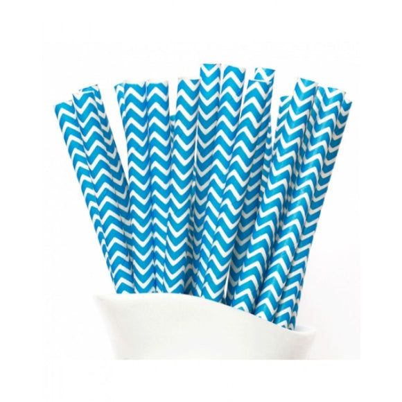 Dollyrockets Sky Blue Chevron Paper Straws - 50pk