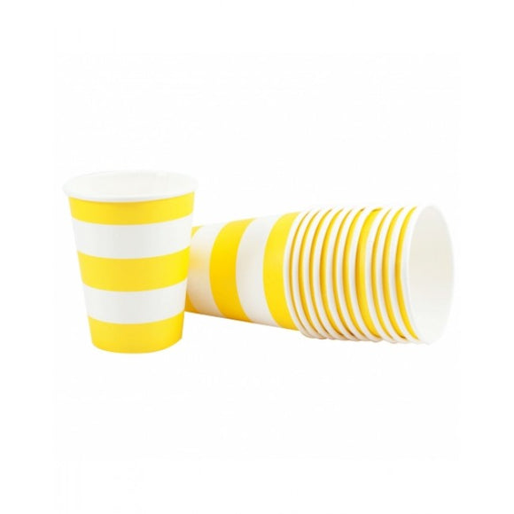 Dollyrockets Yellow Stripe Paper Cups - 12pk