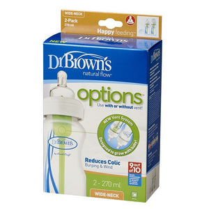 Dr Browns 270ml Wide Neck Baby Options Bottles 2Pk