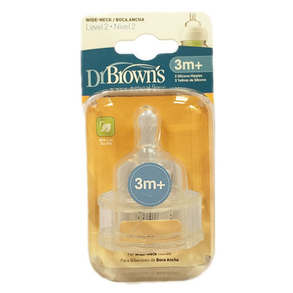 Dr Browns Wide Neck Options Bottle Level 2 Teats 2P
