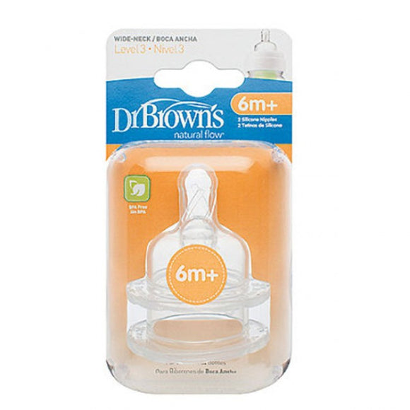 Dr Browns Wide Neck Bottle Level 3 Teats 2Pk