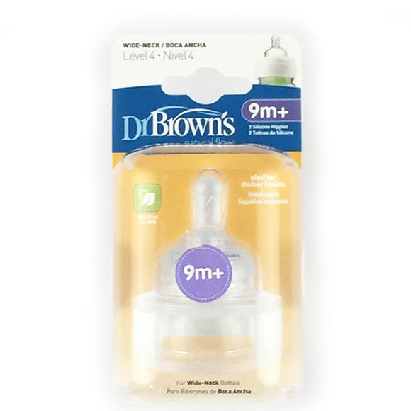 Dr Browns Wide Neck Bottle Level 4 Teats 2Pk