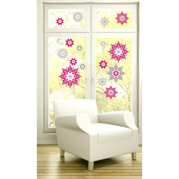 Forwalls Folk Flakes Reusable Window Decal - In Use