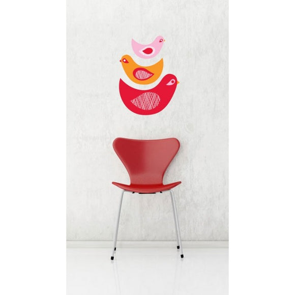 Nesting Chicks Removable Wall Decal display