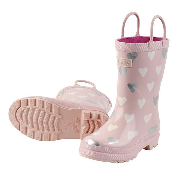 Hatley Metallic Hearts Kids Gumboots