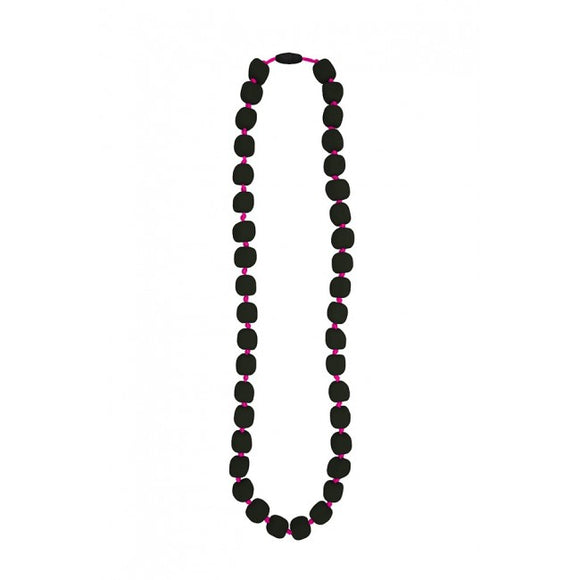 Jellystone Designs - Smokey Dark Bead with Neon Pink Cord Pea Necklace