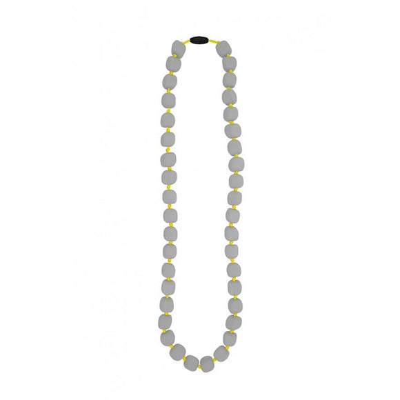 Jellystone Designs - Just Grey Bead with Yellow Cord Pea Necklace