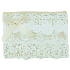 Miss Rose Sister Violet Large Zip Bag Lace Cream