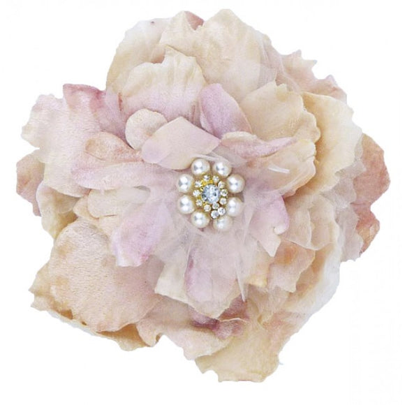 Miss Rose Sister Violet Cabbage Pearl Diamante Clip