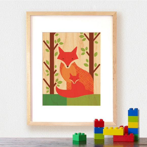 Petit Collage Wood Print - Fox and Baby