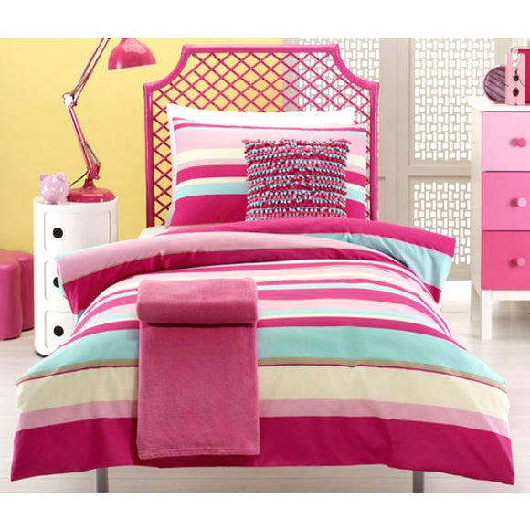 Jiggle and Giggle Ruby Stripe Quilt Cover And Pillowcase