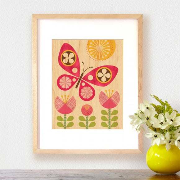 Petit Collage Wood Print - Pink Butterfly