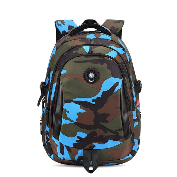 Blue camouflage kids backpack