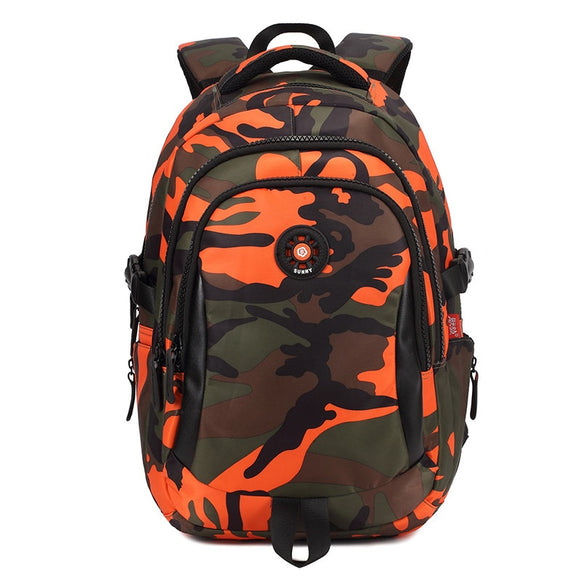 Orange Camouflage Kids Backpack
