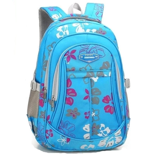 Pale Blue Floral Kids Backpack