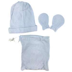 Snugtime Newborn Cotton Hat And Mitten Set In Blue