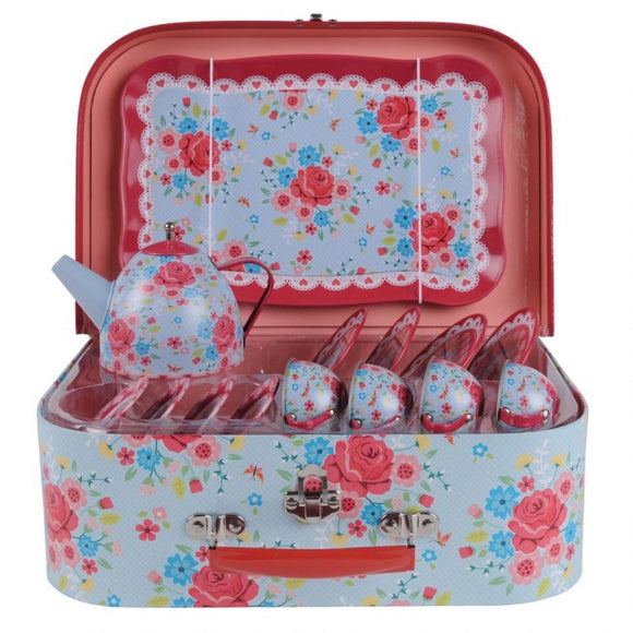 Tiger Tribe Rose Garden Vintage Tin Tea Set - Full Set