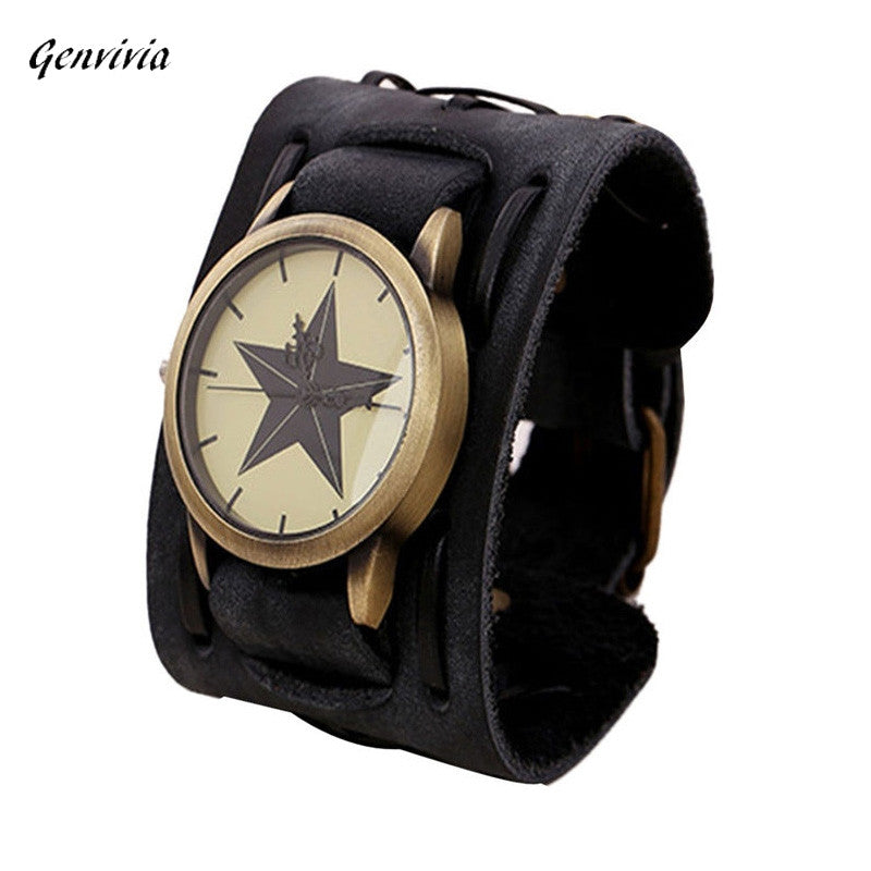 2017 new fashion watch designer men watches orologio uomo best mens watch Retro Punk Rock Big Wide PU Leather Men Watch