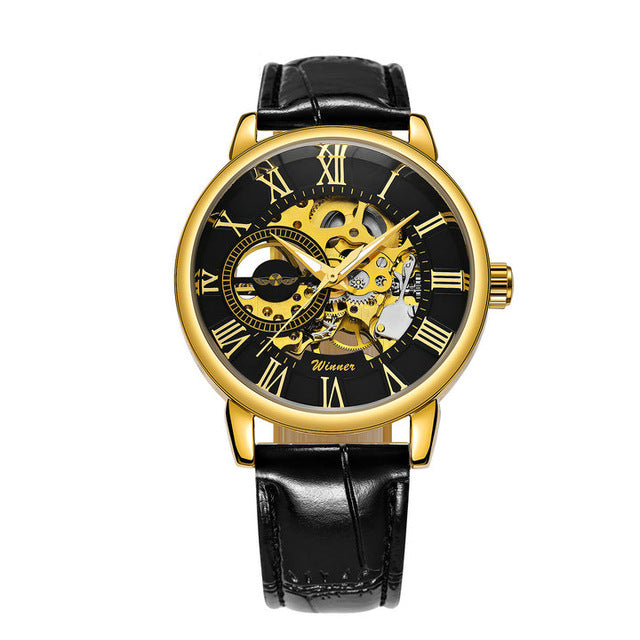 Classic Golden Skeleton Mechanical Watch Men Stainless Steel Strap Top Brand Luxury Man Watch Vip Drop Shipping Wholesale Mechanical Watches Watches