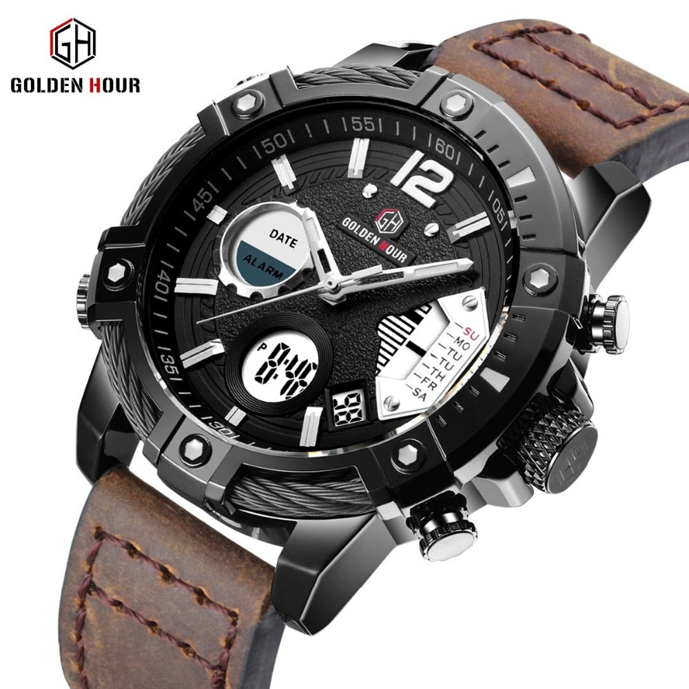 GOLDEN HOURS Military Quartz Dual Time Men Watch Alarm Multifunction Man Fashion Sports Man Crazy Horse Strap Wrist Watches 2019