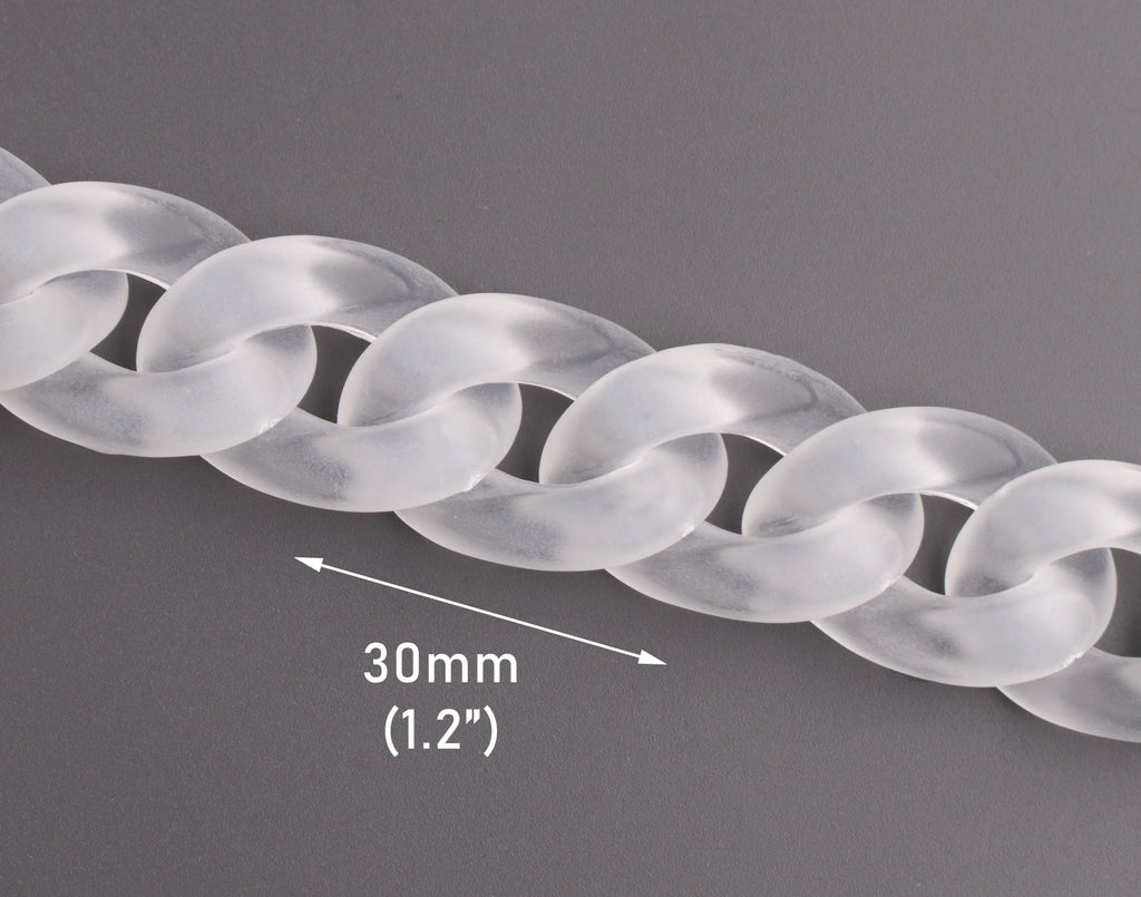 Frosted Acrylic Chain Links, 1ft, Clear with Matte Finish, Cuban Links, Great for Purse Straps and Necklaces, 30 x 20mm