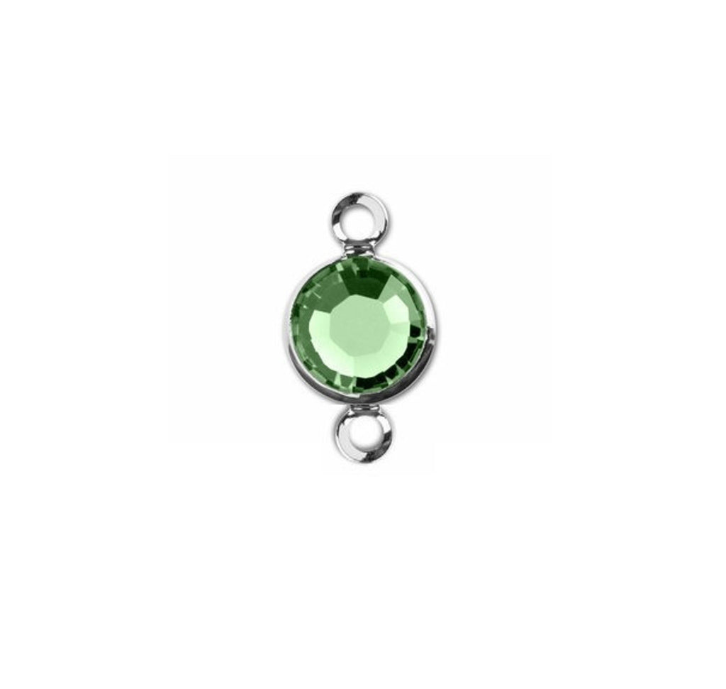 1 Silver Swarovski Crystal Link with Peridot Green, 6mm, Rhodium Plated Channel Set, 57700