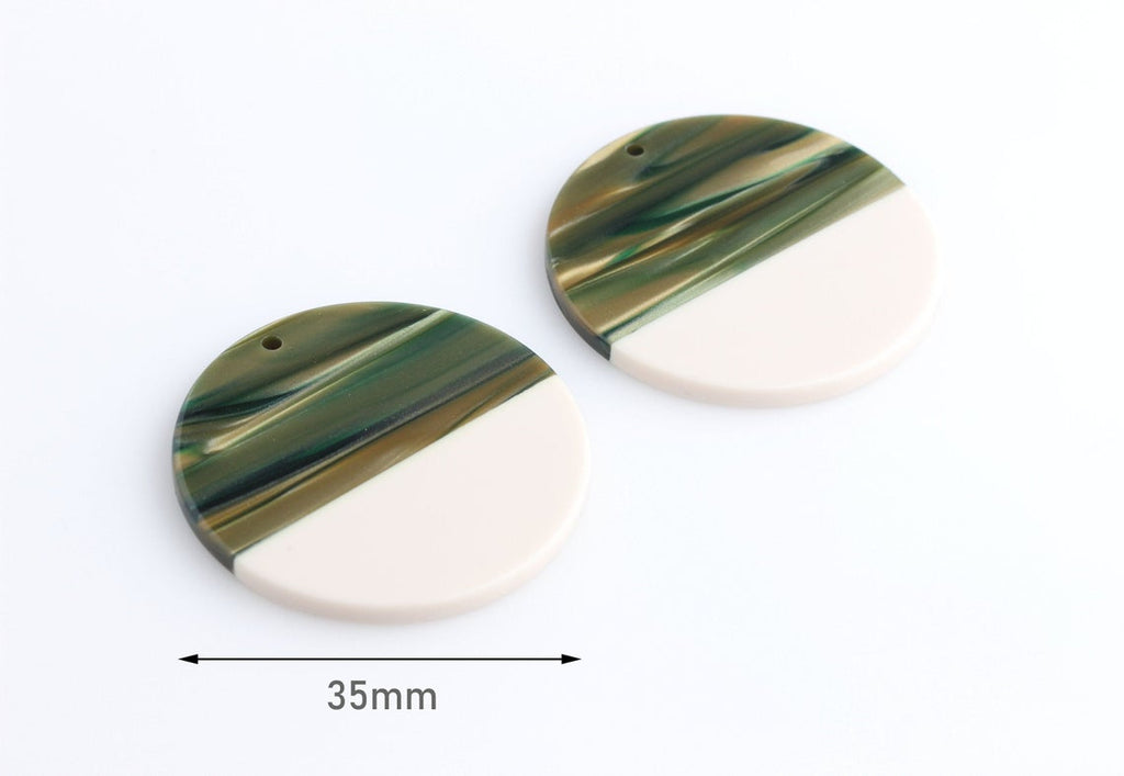2 Large Circle Pendants in Sage Green and Bone White, Two Tone, Cellulose Acetate, 35mm