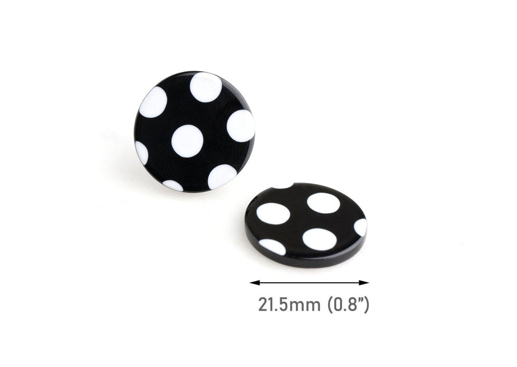 4 Resin Flatbacks with White and Black Polka Dots, Flat Cabochons and Embellishments, Acetate, 22mm