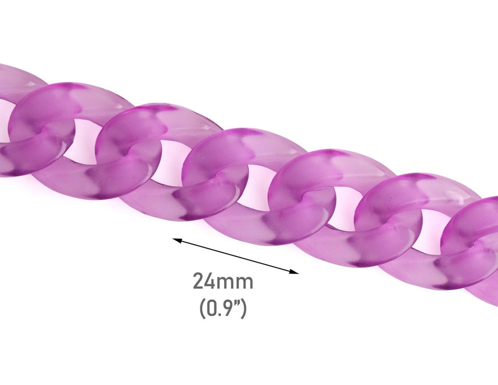 1ft Transparent Acrylic Chain Links in Amethyst Purple, Purple and Clear Curb Chain, 24 x 17mm