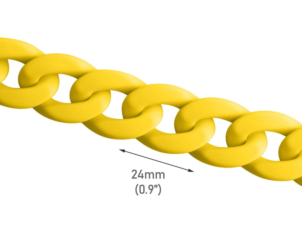 1ft Matte Yellow Plastic Chain Links, Neon Fluorescent Colors, Great for Necklaces and Bracelets, 24 x 17mm