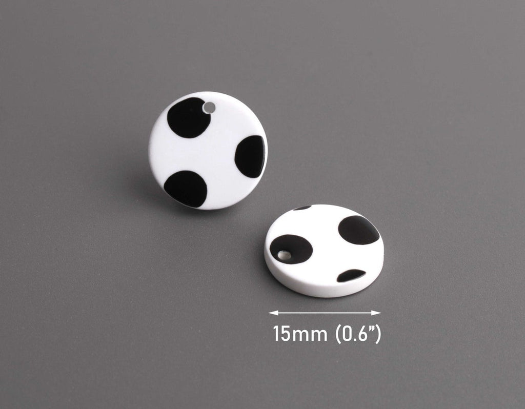4 Round Circle Charms with Polka Dots, Black and White, Acetate Plastic, 15mm