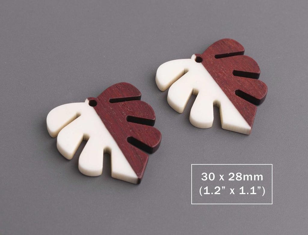 2 Ivory White Resin and Wood Leaf Charms, Monstera Leaves, Epoxy Resin and Real Wood, 30 x 28mm