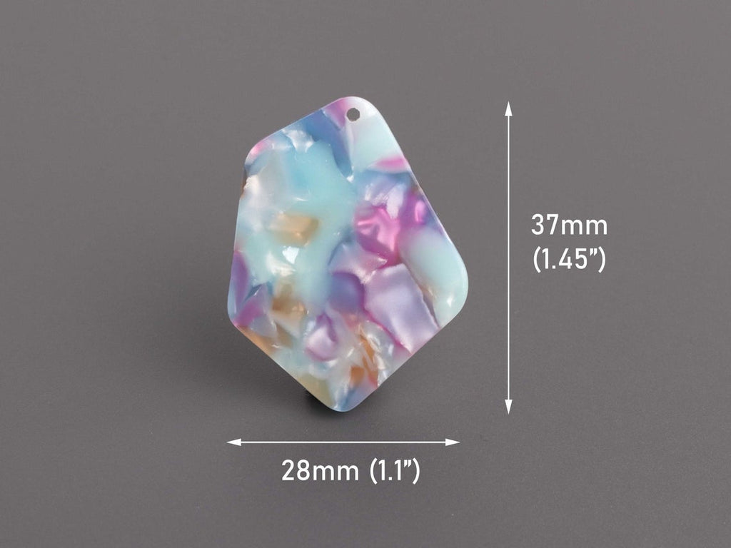 2 Geometric Charms in Watercolor Tortoise Shell, Diamond Shape, Light Blue and Pink, Acetate, 37 x 28mm