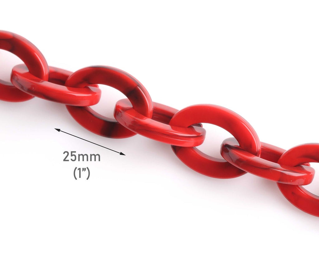 1ft Imperial Red Acrylic Chain Links, Oval Cable Chain by the Foot, 25 x 18.5mm