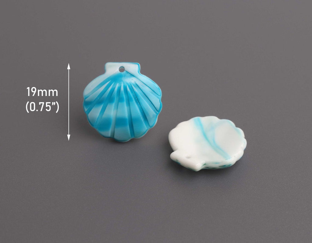 4 Tiny Seashell Charms in Blue and White, Scallop Shell Beads, Marble Acrylic, 19 x 18.5mm