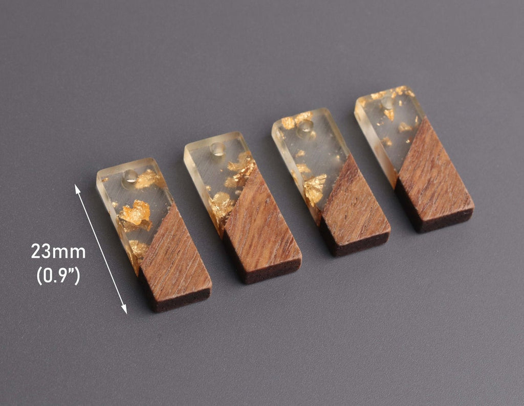 4 Short Bar Charms in Wood and Resin, Gold Leaf Foil Flakes, Translucent Resin and Real Wood, 23 x 8.5mm