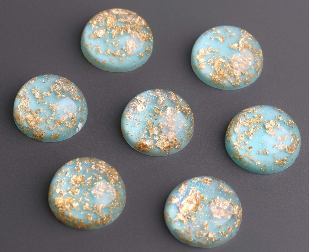 4 Mint Green Cabochons with Gold Flecks, High Dome, Round Cabs, Resin and Holographic Glitter, 20mm