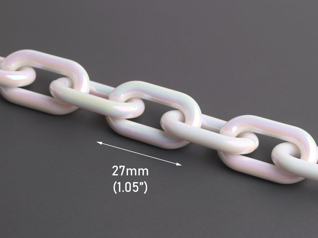 1ft Opal White Acrylic Chain Links, Iridescent Chain, AB Effect, Paperclip Chain, 27 x 16mm
