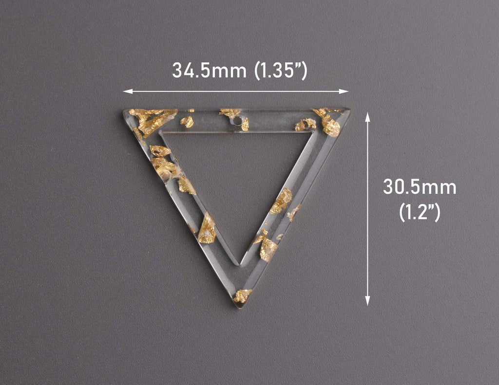 2 Large Triangle Ring Charms with Gold Leaf Foil Flakes, Clear Acrylic, 34.5 x 30.5mm