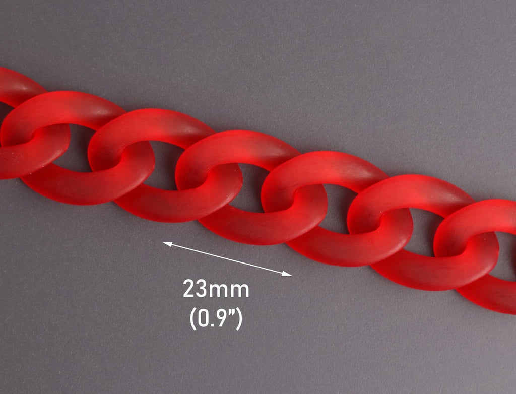 1ft Frosted Ruby Red Acrylic Chain Links, Miami Cuban Links, Matte Transparent Plastic, 23 x 17mm