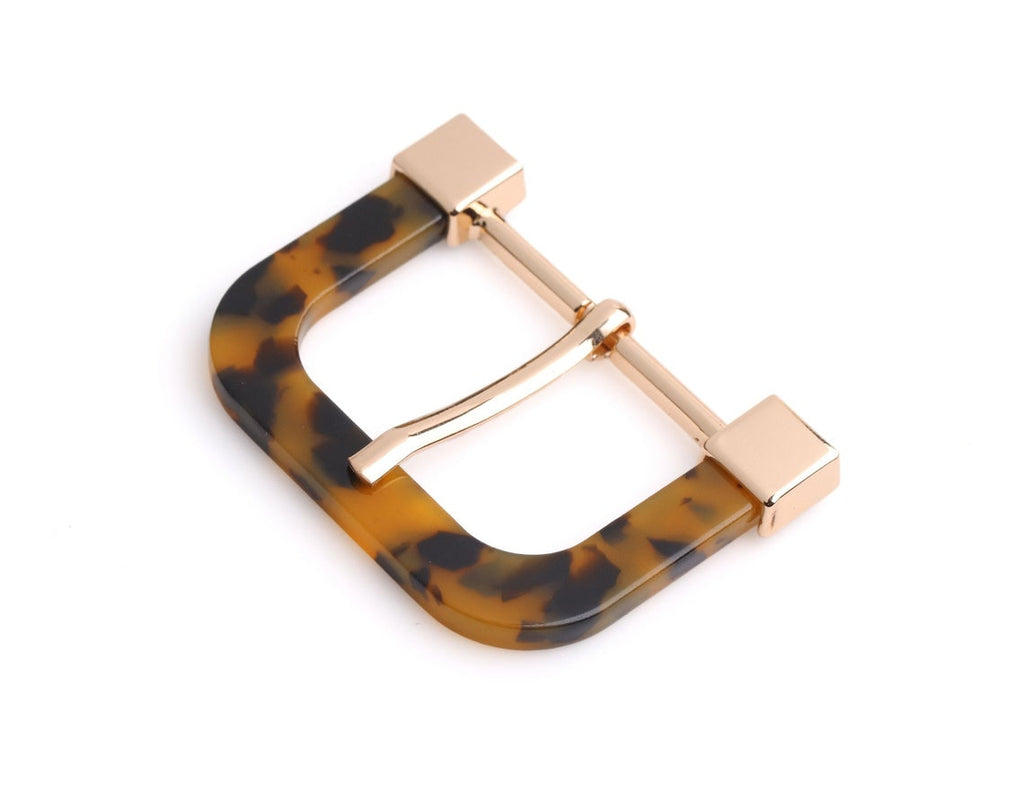 "1 Large Tortoise Buckle, Orange Tortoise Shell and Gold, Heel Bar Buckle, Metal and Acetate, 2.1 x 1.6"" Inch"