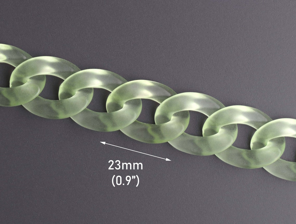 1ft Frosted Acrylic Chain Links in Peridot Green, Flat Curb Chain, Transparent Matte with Ice Glass Effect, 23 x 17mm