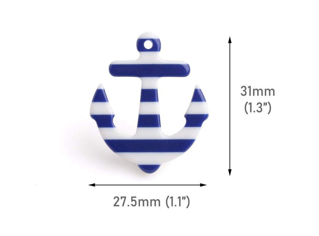 2 Anchor Charms with Navy Blue and White Stripes, Kawaii, Ship and Nautical Pendant, Acrylic, 31 x 27.5mm