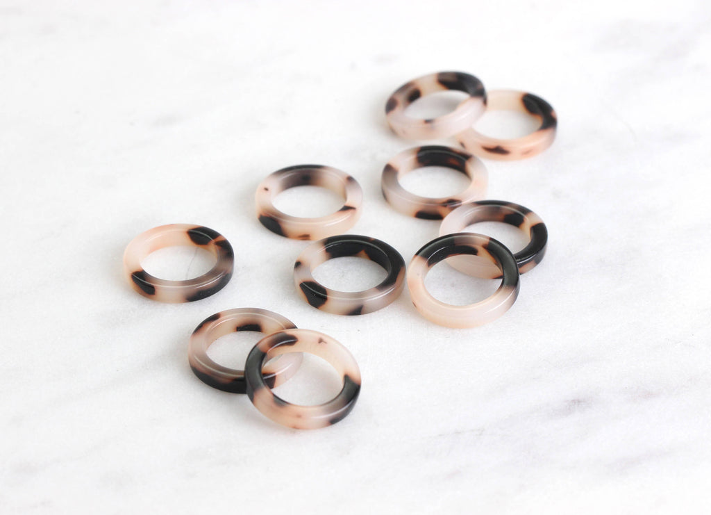 4 Small White Tortoise Ring Links, 15mm Ring Connector Tortoise Shell, White Circle Big Hole, Mini Ring Bead Plastic Acrylic, RG004-15-WT