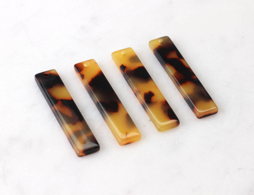4 Wide Bar Charms in Tortoiseshell, Cellulose Acetate, 35 x 7mm